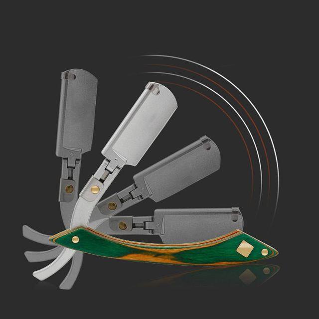 Men Easy Opening Straight Hair Razor Retro Wooden Handle Barber Hair Shaver Kit Safety Razor 4