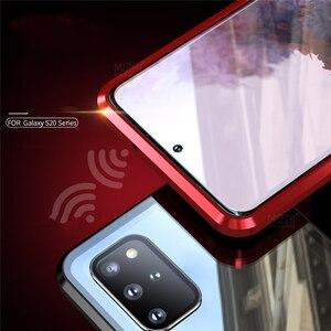 Image 5 - Funda magnética de Metal para Samsung Galaxy S20 Ultra Plus, protector de vidrio de doble cara, 360