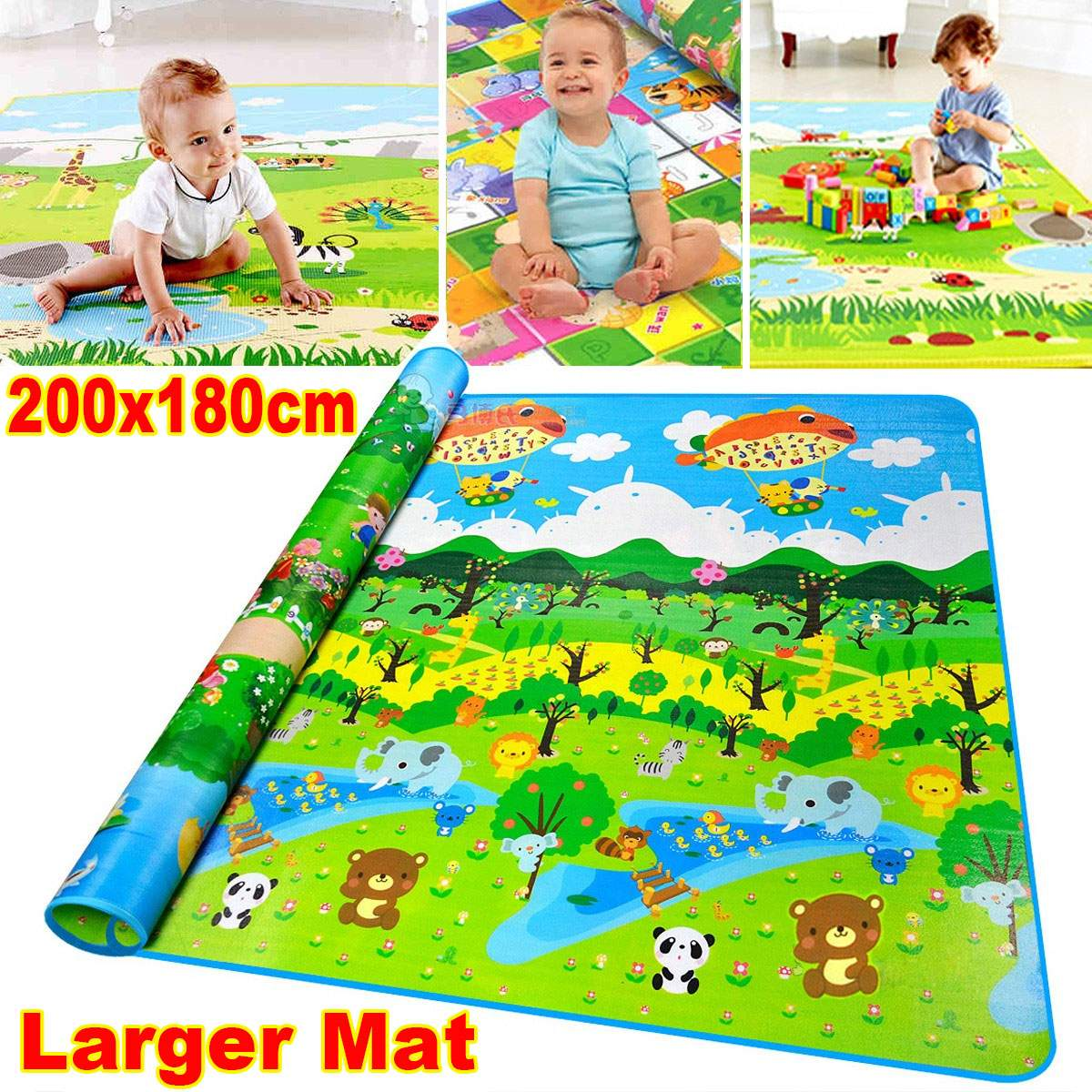 NEW Baby Play Mat 200*180*0.5cm PE Cotton Crawling Mat Double Surface Baby Carpet Rug Animal Mat For Children Game Pad