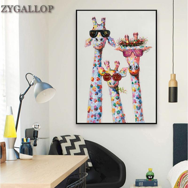 Die Giraffe familie Mit Brille Leinwand Malerei Tier Wand Kunstdruck Leinwand Poster Bunte Giraffe Bilder für Schlafzimmer Decor