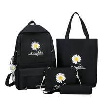 Sac à dos en toile imprimé marguerite, 4 pièces, sac à dos d'école en toile pour adolescentes, sac à bandoulière pour voyage, pochettes pour étudiants