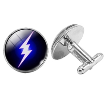 Hot! 2019 Super New Blue Lightning Badge Cufflinks Glass Convex Silver Mens Gift Jewelry