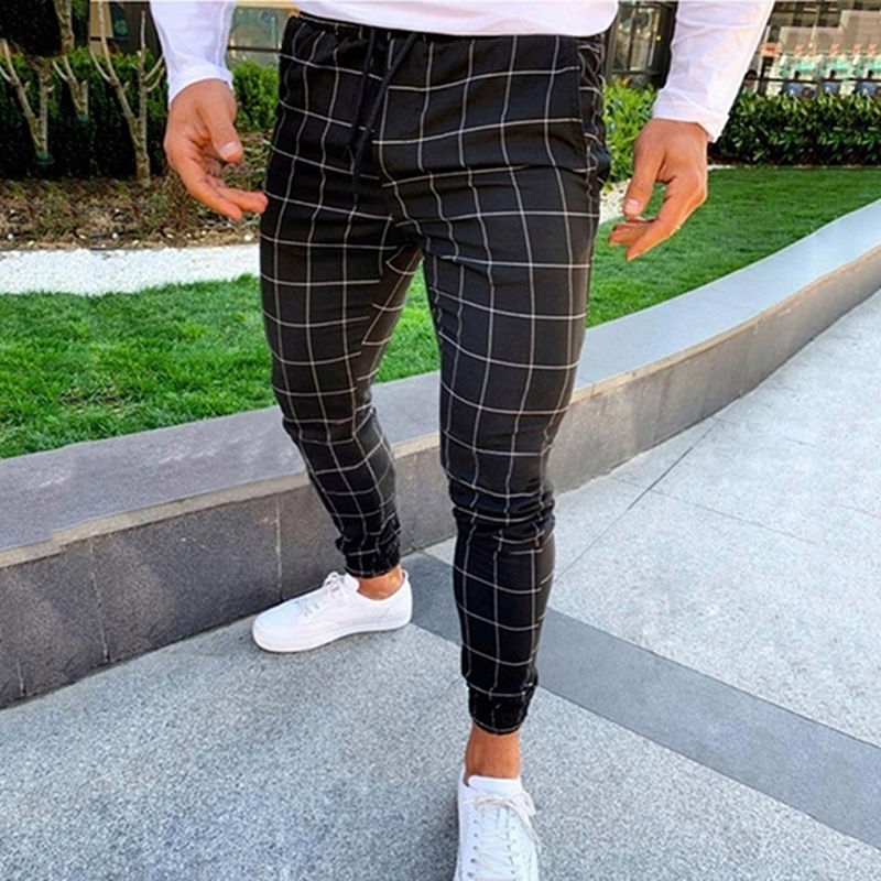 2019 Sexy High Wasit Spring Summer Fashion Pocket Men's Slim Fit Plaid Straight Leg Trousers Casual Pencil Jogger Casual Pants