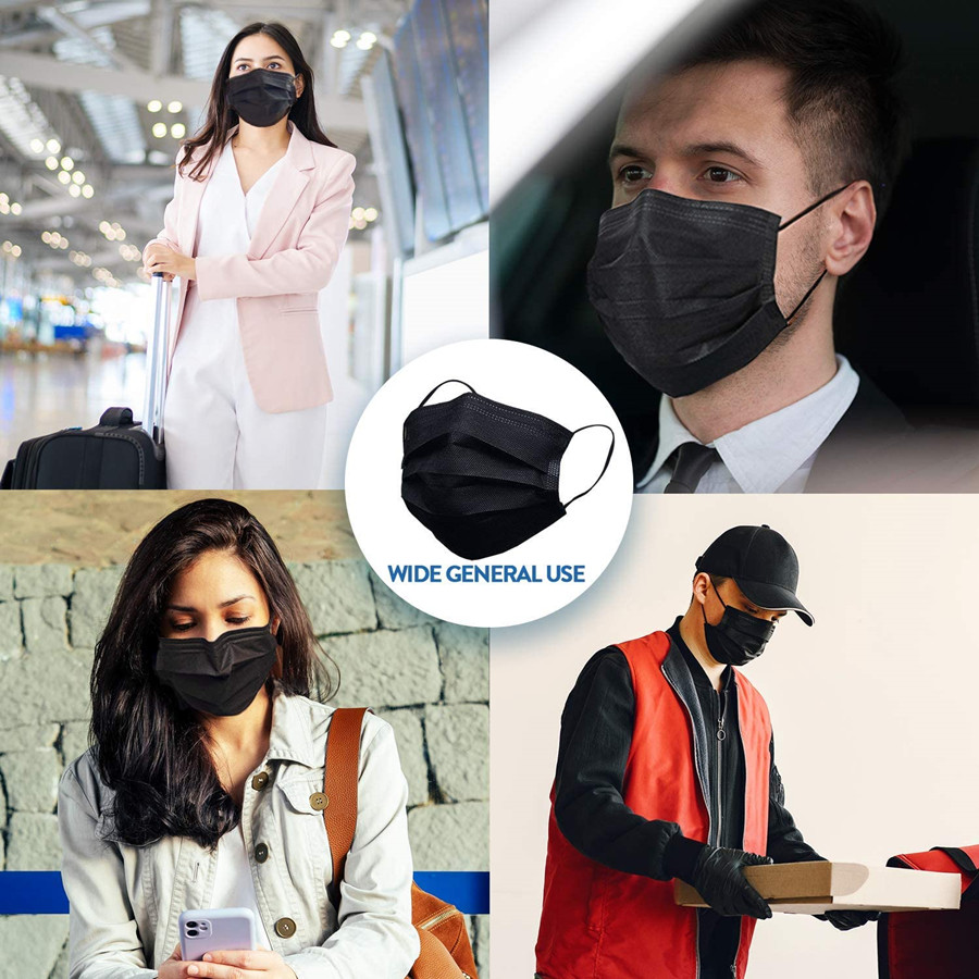 10-600pcs Mask Disposable Face Mask Black Nonwove 3Layer Mouth Mask filter Anti Dust Breathable Protective Adult masks Fast Ship 5