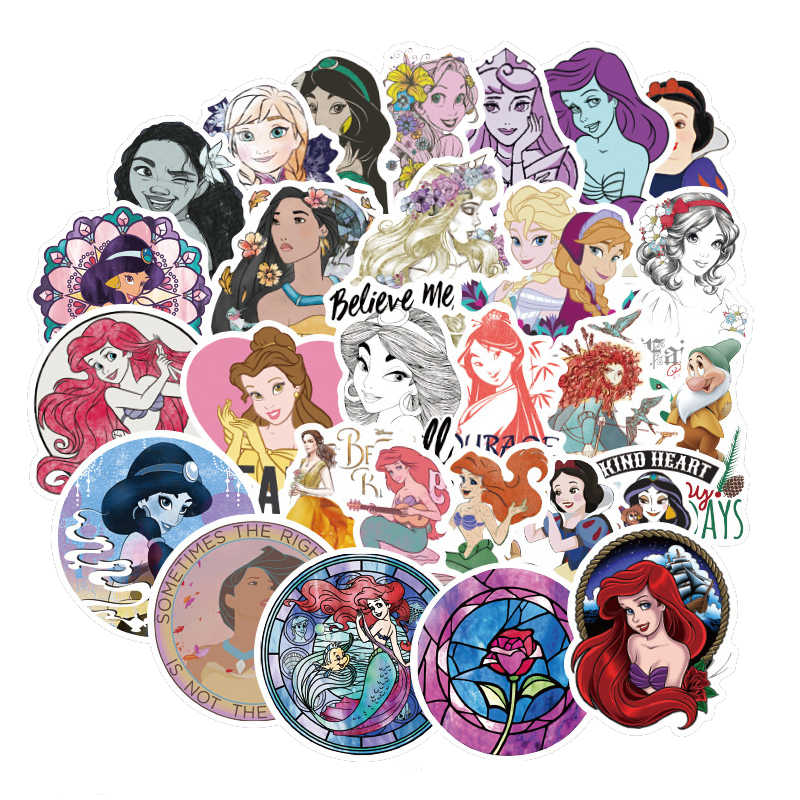 100pcs Round Beautiful Princess Cartoon Sticker For Kids Toy Luggage Skateboard Phone On Laptop  Bicycle Girl Guitar Stickers F2