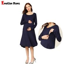 Новая весенняя одежда с длинным рукавом для беременных, стрейчевое платье с карманами, свободное платье для беременных, кормящих грудью