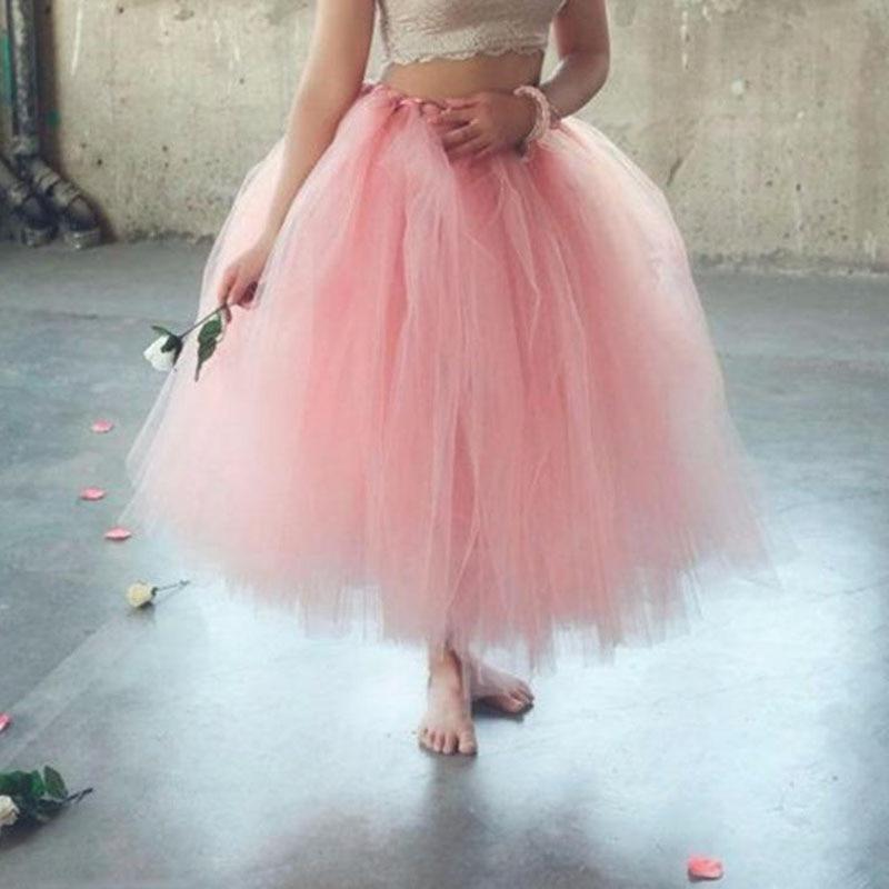 Handmade 80CM Midi Tulle Tutu Skirts For Women High Quality Ball Gown Skirt Party Props Petticoat 2019 Faldas Saia Jupe