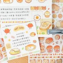 1 ورقة Kawaii الخبز الحيوانات أرنب الدب الكلب ورقة الزخرفية ملصقات الديكور دفتر