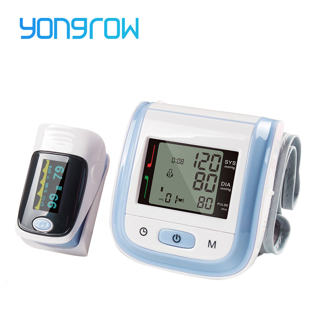 Yongrow Wrist Medical Digital Blood Pressure Monitor Sphygmomanometer Finger Pulse Oximeter SpO2 Saturation Meter Family Health