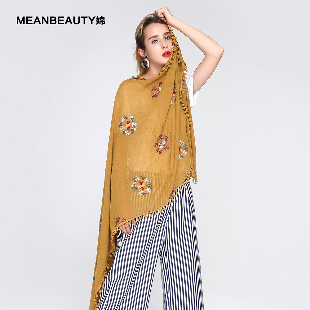 Creative New Embroidered Double Circle Hair Ball Lady Scarf Multifunctional Autumn And Winter Foreign Trade Cotton And Hemp