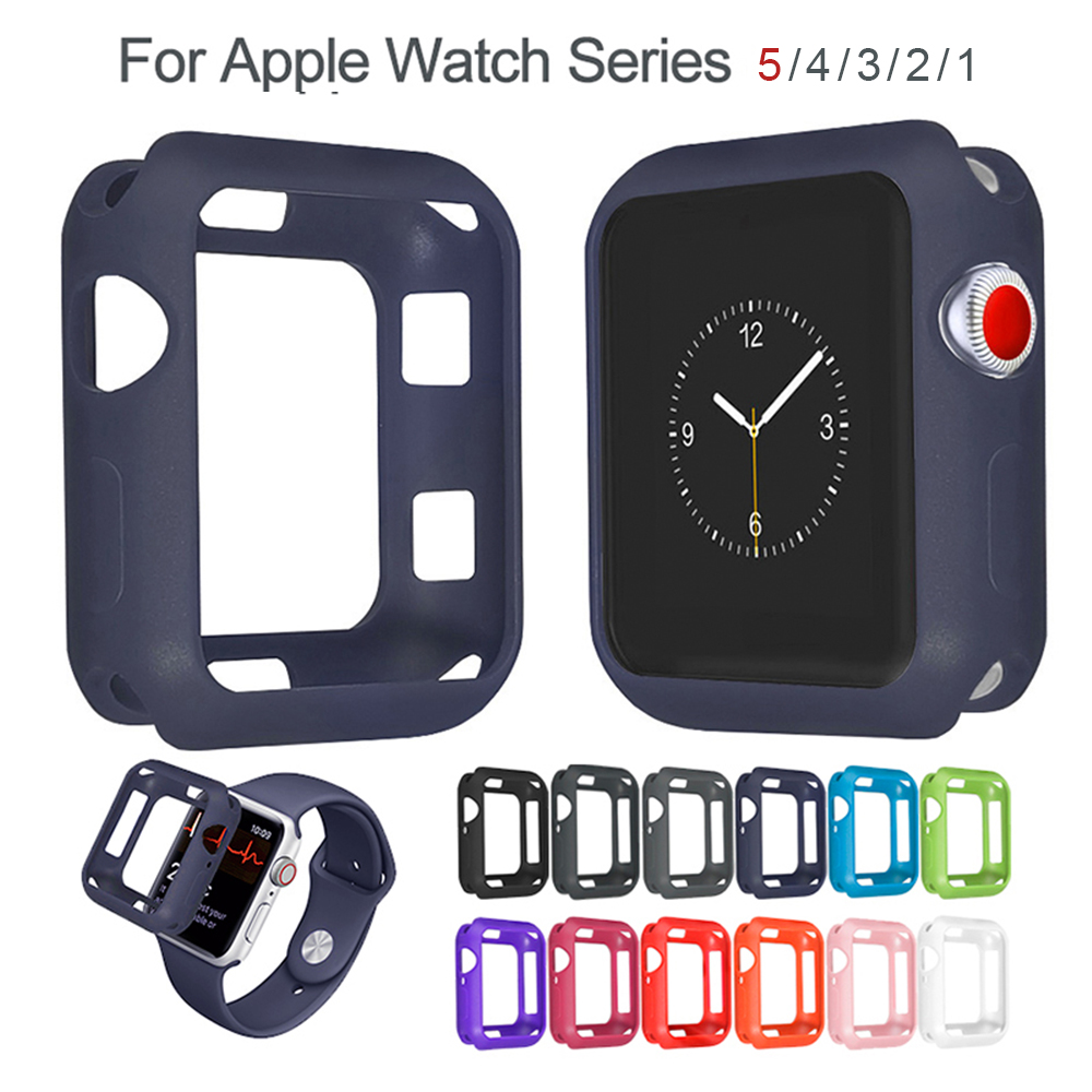 Anti-fall Soft Silicone Case For Apple Watch Series 5 40MM 44MM IWatch Series 1 2 3 4 5 Cover Frame Protection 42mm 38mm Strap