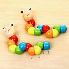 лучшая цена Puzzles Colorful Wooden Worm Kids Learning Educational Didactic Baby Development Toys Fingers Game for Children Montessori Gift