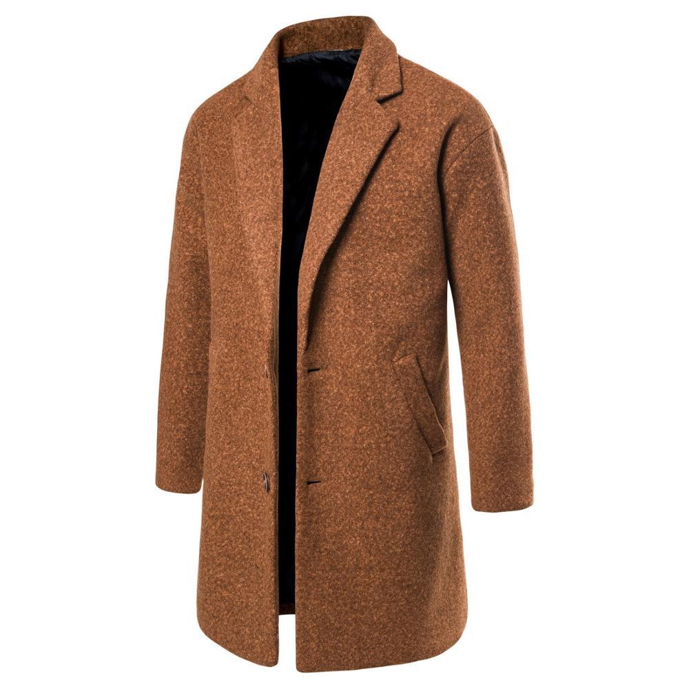 Boys Winter Coat Plus Size Woolen Over Coat Male Long Windbreaker Jacket Cotton Warm Men Fiber Overcoat