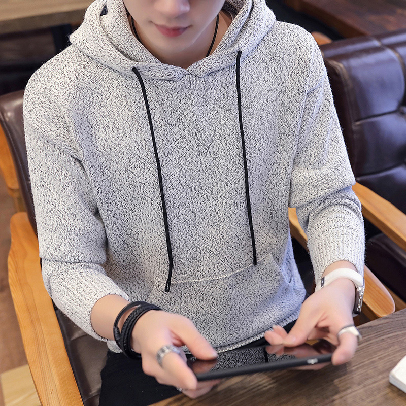 Autumn And Winter Causal Warm Men Winter Hooded Sweater Long Sleeved Hooded Solid Color Thicken Coats Sweaters For Men