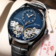 Ailang Echte Merk Mannen Dubbele Tourbillon Lichtgevende Direct Uitziende Mechanisch Horloge Automatisch Horloge Heren Horloge Hollow Movem