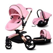 Newborn 3 In 1 Luxury Stroller Babyfond Two-way Foldable Four-wheeled Baby