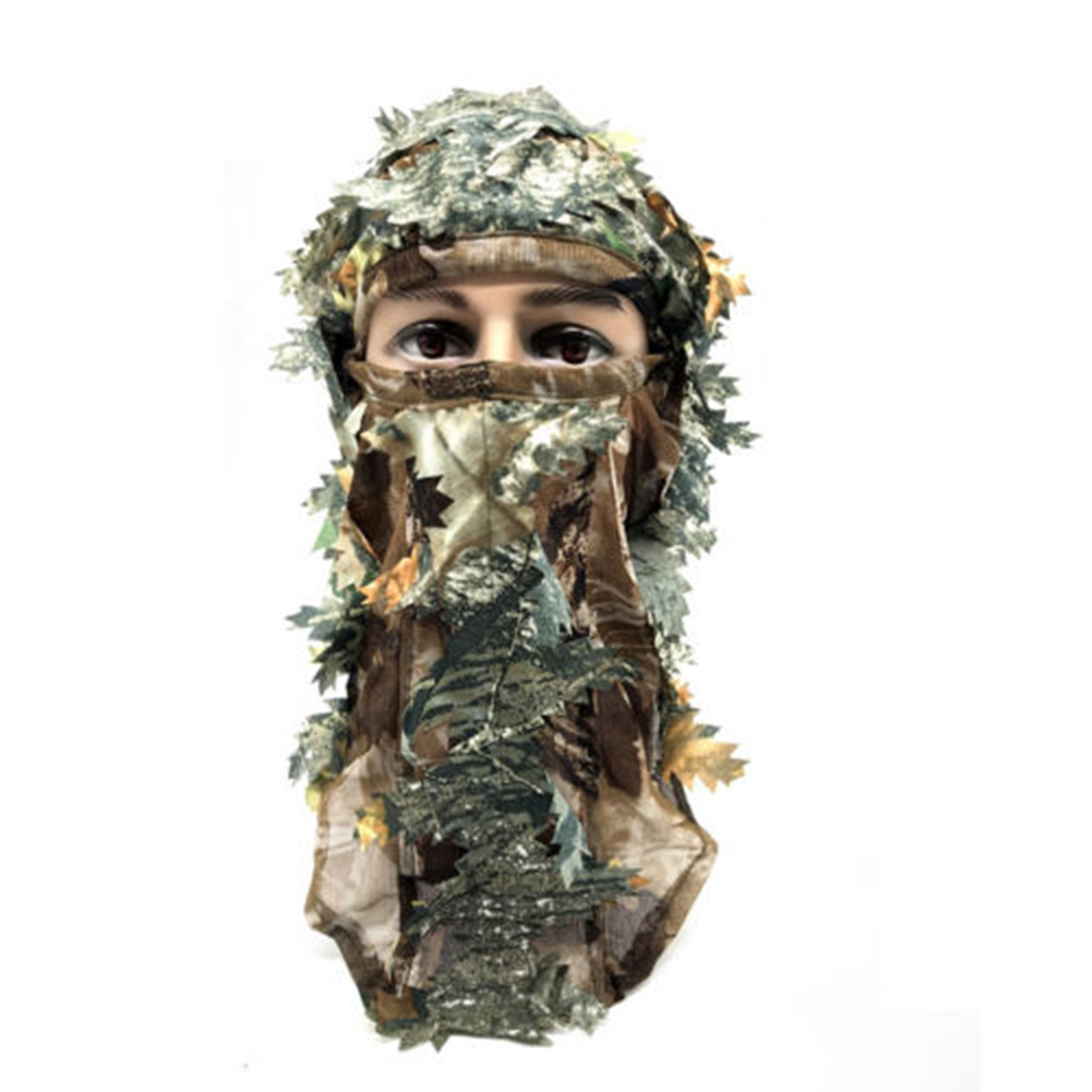 3D Camouflage Full Face Breathable Outdoor Tactical Fishing Hunting Mask Camo Polyester Leaf Woods Headgear Millitary