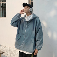 Autumn Pullover Jacket Men Fashion Letter Print Casual Hooded Coat Man Streetwear Wild Loose Hip Hop Bomber