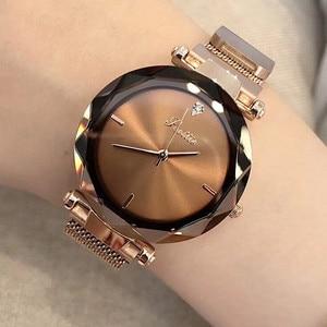 Image 2 - แบรนด์หรูใหม่ผู้หญิงนาฬิกาแม่เหล็กหัวเข็มขัดผู้หญิงนาฬิกาควอตซ์สแตนเลสกันน้ำนาฬิกาข้อมือ Relogio Zegarki Damskie