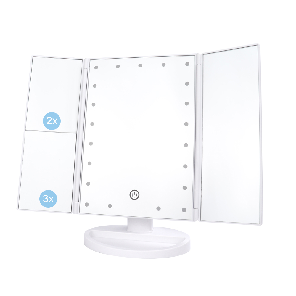 21 LEDs Folding Lamp Luminous Makeup Mirror 2X 3X Magnifying 180 degree Rotating Adjustable Tabletop Cosmetic Mirrors in Makeup Mirrors from Beauty Health