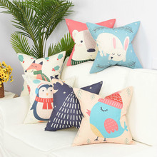 цены Cartoon Animal Nordic Cushion Cover Tropic Flax Throw Pillow Cover Polyester Cushion Case Sofa Bed Decorative Pillow Case Decor