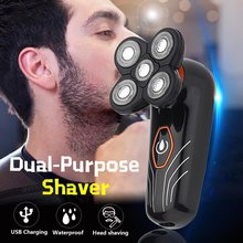 Rechargeable Waterproof Self-Care Head Shaving Razor 5-Head Waterproof Floating Shaving Blade Razor