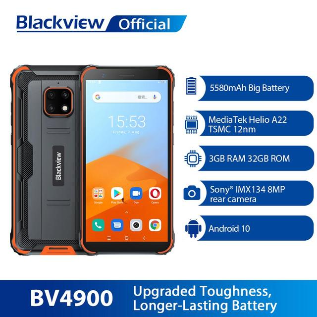 Blackview BV4900 Android 10 Rugged Waterproof Smartphone 3GB+32GB IP68 Mobile Phone 5580mAh 5.7 inch NFC Cellphone