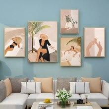 Moda mulher poster sexy arte da parede preto gato folhas impressão em tela fotos do vintage nórdico cartaz e impressão de parede fotos para casa