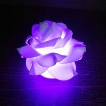 Светодиодный ночник с романтическими розами, 7 цветов, беспламенные Свечи, лампа для свадебной вечеринки, Рождества, домашнего декора Q9QA