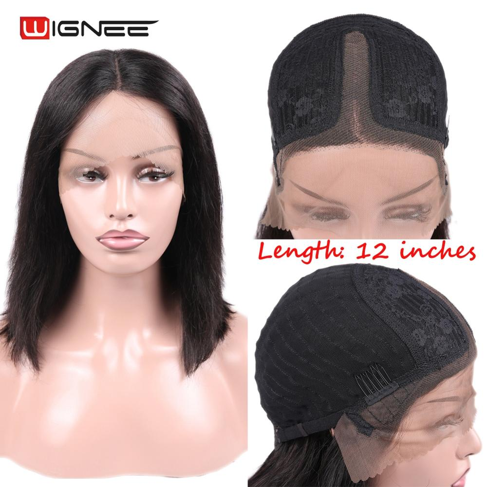 Wignee Lace Part Human Hair Wigs For Black/White Women Pre-Plucked Hairline Brazilian Remy Straight Human Hair Short Human Wigs