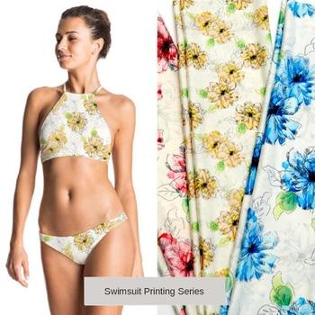 Fashionable swimwear fabrics Summer ladies hot print warp knitted tops swimwear printed ice silk special fabrics