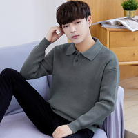 High quality men's lapel long sleeve sweater fashion winter bottoming shirt men Tide warm thick casua Knitted sweaters 860