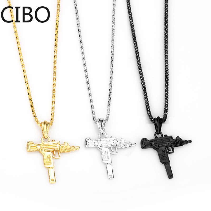 2019 nova forma de arma uzi pingente colar homens hip hop jóias cor do ouro estilo do exército masculino corrente colares gothic