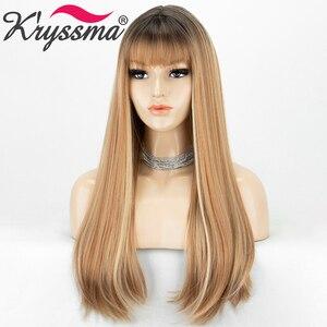 Image 1 - Длинные прямые синтетические парики с челкой, хайлайтер медовый блонд Омбре Косплей парики для женщин черный коричневый корень термостойкий парик