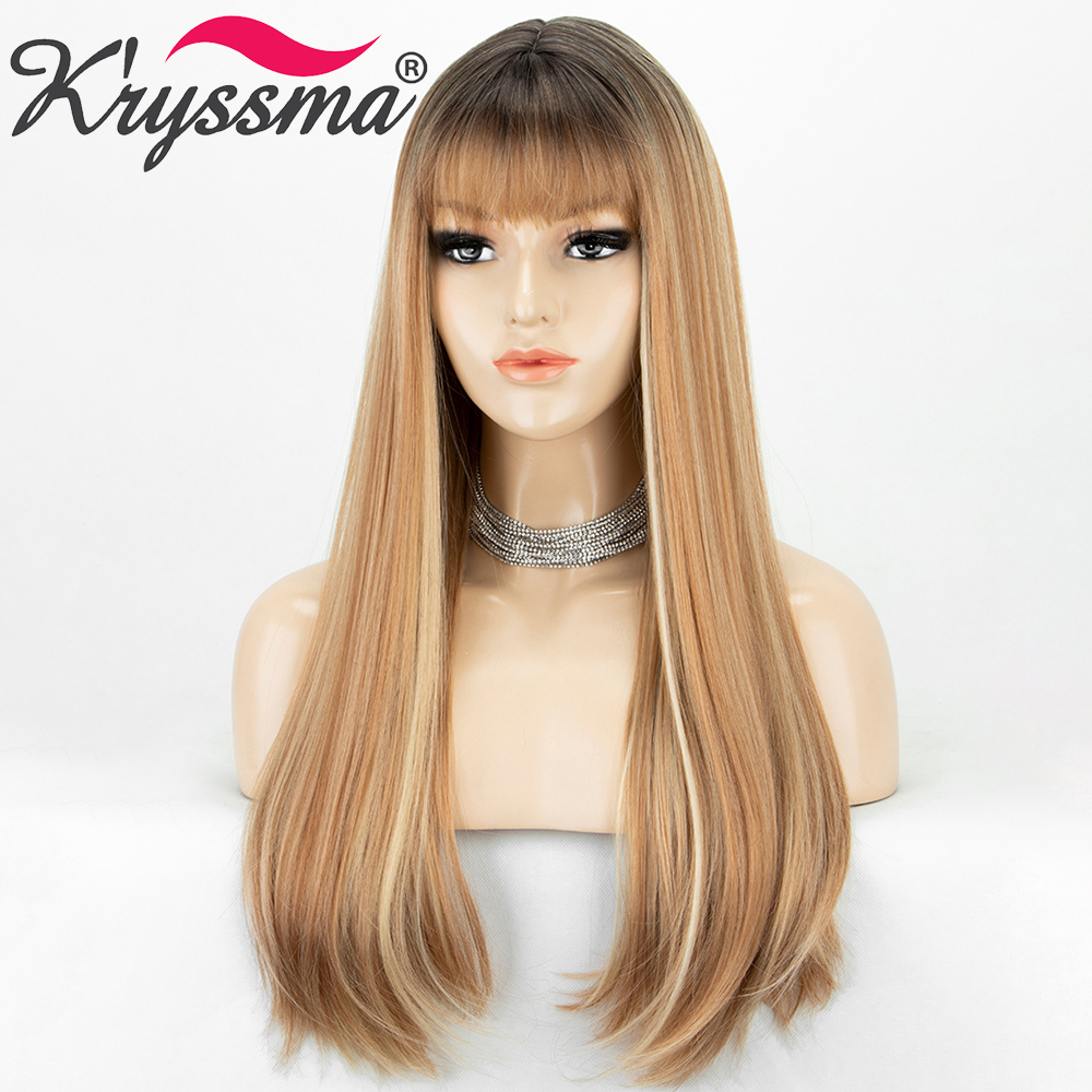 Long Straight Synthetic Wigs With Bangs Highlight Honey Blonde Ombre Cosplay Wigs For Women Black Brown Root Heat Resistant Wig