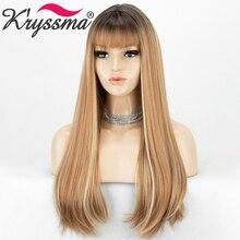 Pelucas sintéticas largas y rectas con flequillo para mujer pelucas de Cosplay con degradado de rubio miel para mujer, peluca resistente al calor de raíz de color negro y marrón