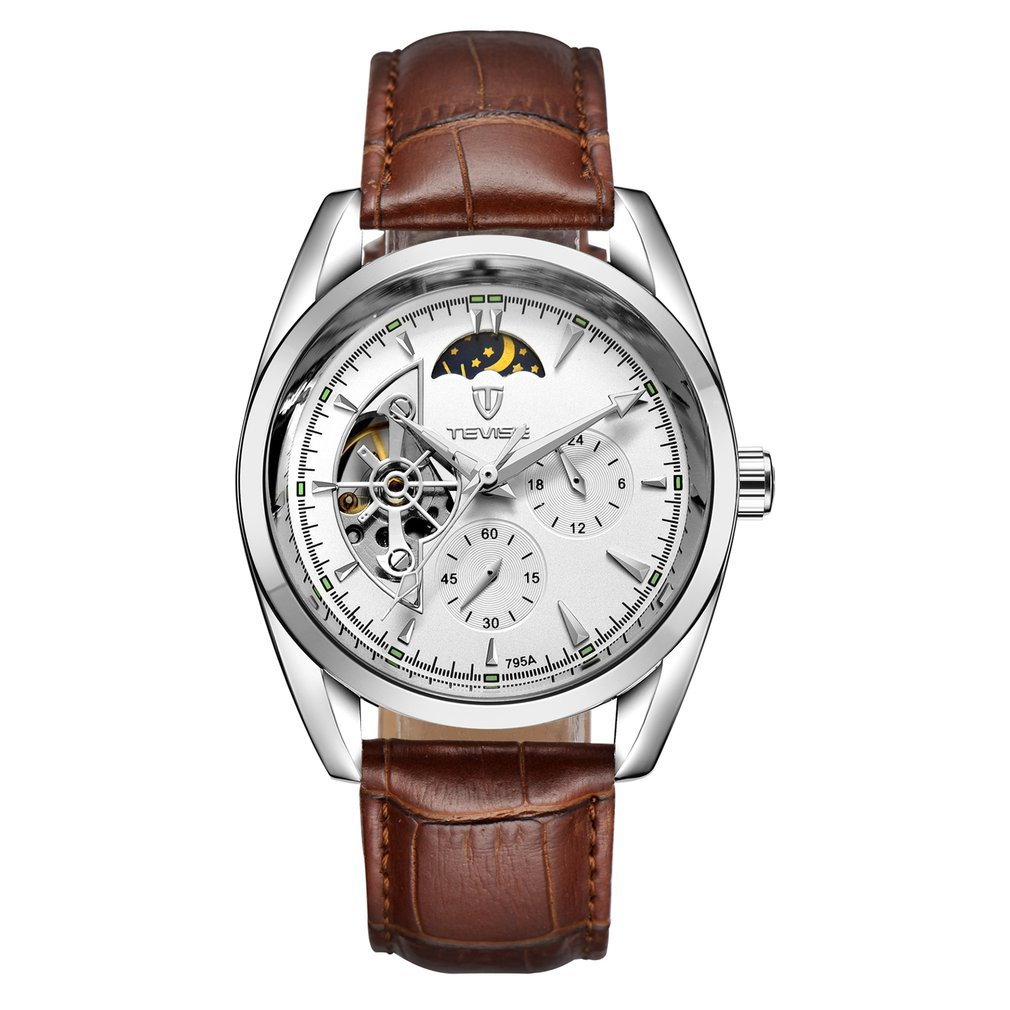 TEVISE Men Watch Tourbillon Automatic Leather Stra