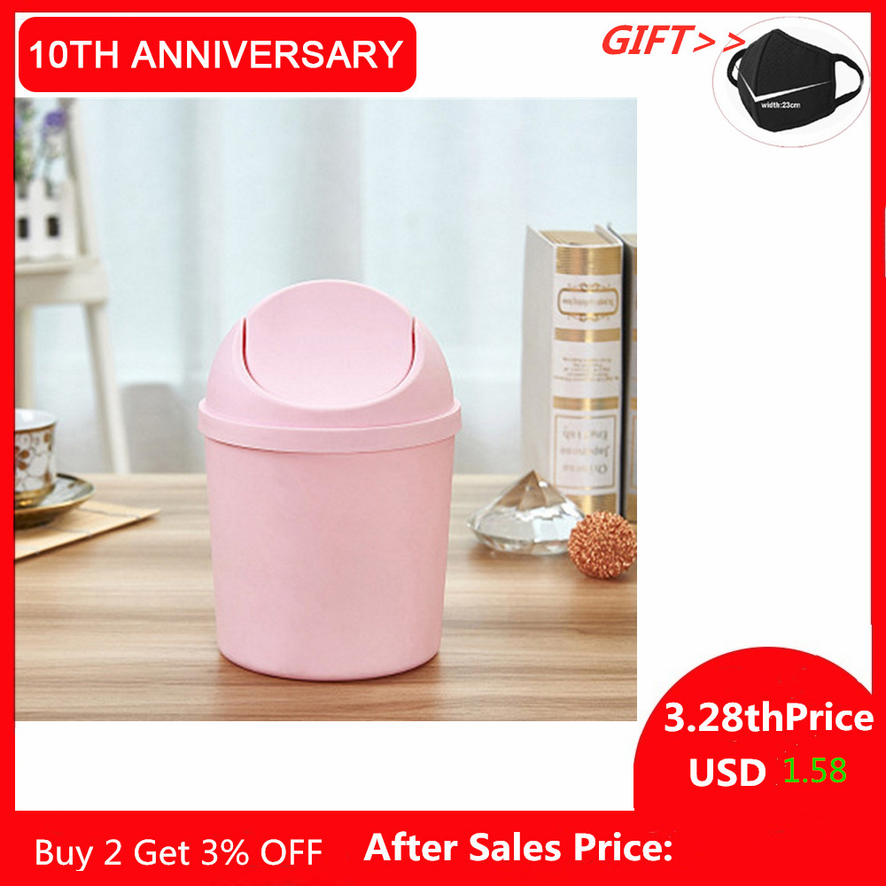 Tidy Desktop Trash Can Storage Bucket Plastic Cover Can Be Removed With Lid Household Clean Shake-top Trash Can Desk Ashbin