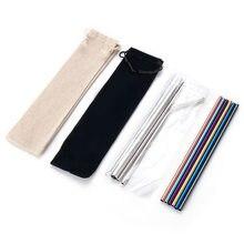 304 paille en acier inoxydable potable coloré réutilisable en acier inoxydable ensemble de paille avec brosse et sac