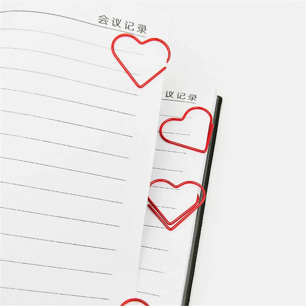 24 Buah/Kotak Merah Hati Bentuk Kawaii Klip Kertas Alat Tulis Hollow Keluar Klip Pengikat Foto Tiket Dokumen Catatan Huruf Clamp