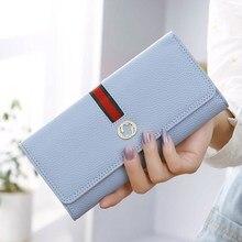 2020New wallet female long wallet Korean version simple lychee pattern three fold draw belt ladies wallet wallet