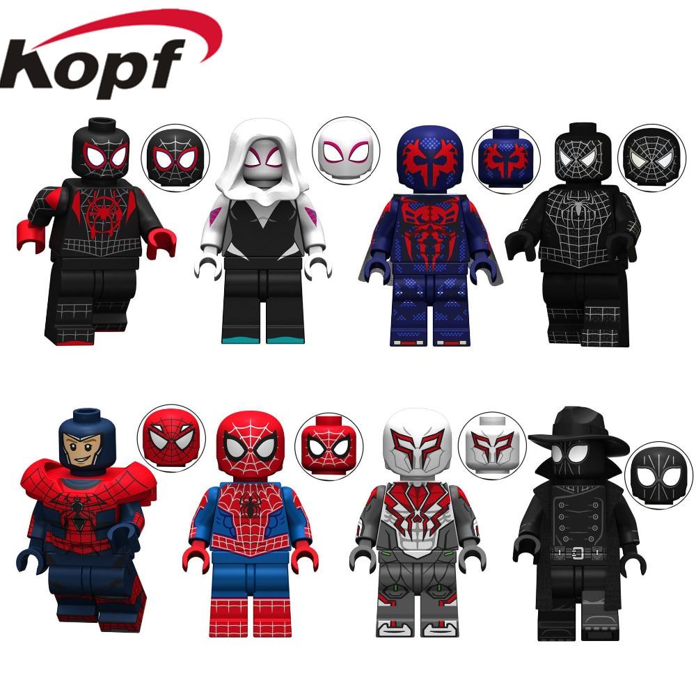 Figures Marvel Avengers Spiderman Ultimate Spider-Man Noir Gwenom Building Blocks Bricks Toys For Children KT1016