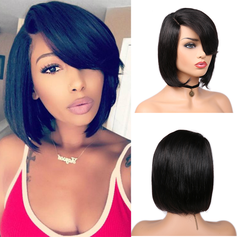 FAVE Wig Bob Lace-Wig Short Human-Hair Pixie-Cut Pre-Plucked Black Women Brazilian  title=