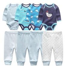 2020 bebek giyim seti çocuk tulum 8 adet setleri pamuk takım elbise pantolon yenidoğan kız giysileri