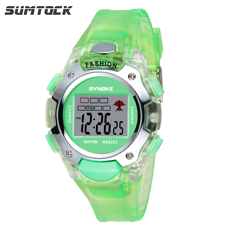 SUMTOCK Green Children's Watch Digital For Boys Girls 3M Water Resistant Alarm Clock Led Luminous 6 Colors Relogio Infantil