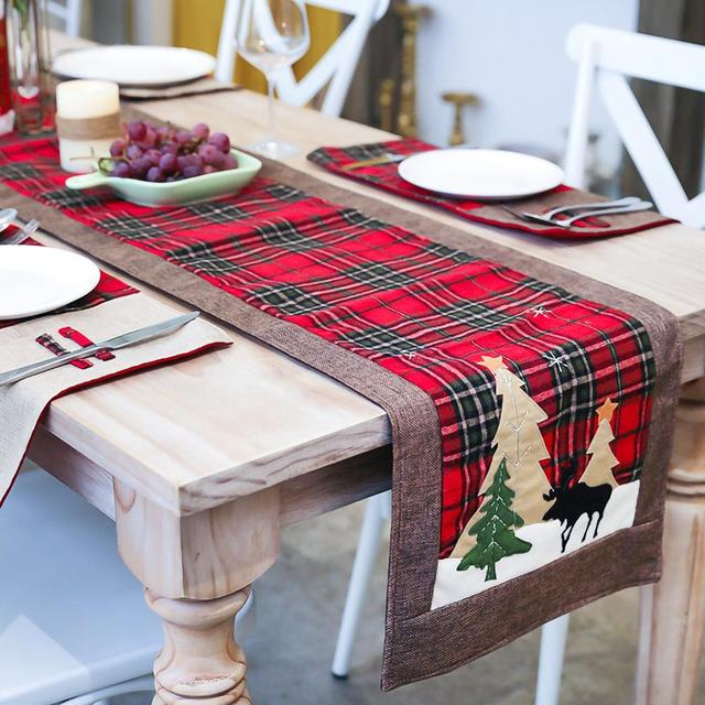 Burlap & Cotton Christmas Table Runner Red Black Plaid Tablecloth Home Party Dining Table Coffee Table Decoration Tablecloth 1