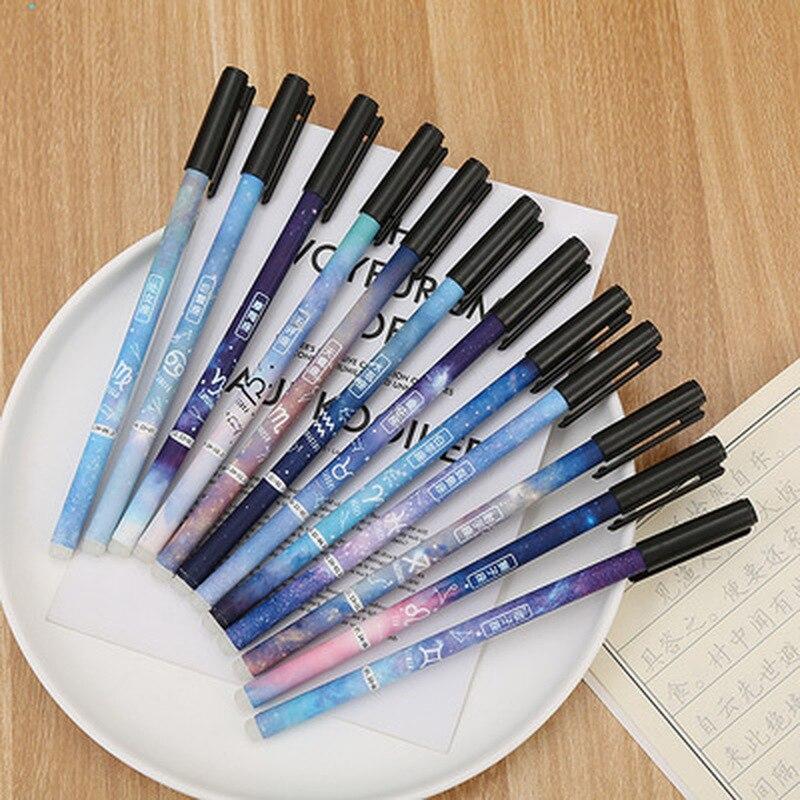 1PCS Constellation Erasable Pen0.5mm Student Cute Gel Pens Novelty Cartoon Cute Pens Stationery Signature Pen School Supplies