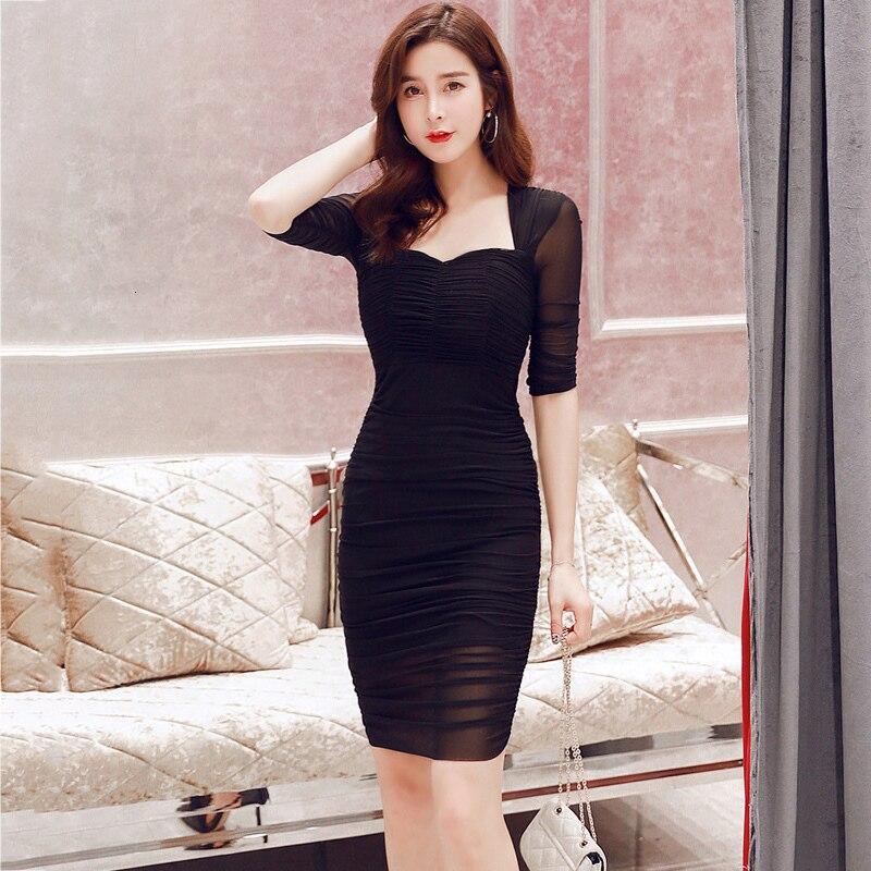 Nueva sección delgada sexy bajo pecho detrás de la cadera vestido primavera auto-desarrollo fiesta vestido negro vestido Mujer YM151 - 3