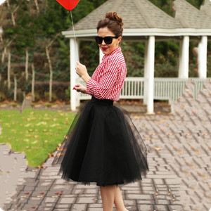 Image 4 - 7 Layered Tulle Skirts Womens High Waist Swing Dolly Ball Gown Underskirt Mesh Tutu 2020 Summer Midi Skirt Faldas Saias Jupe