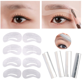 1set Reusable Eyebrow Stencil Set Hair Remover Trimmer Scissors Makeup Eye Brow Shaping Eyebrow Ruler Eyebrow Trimmer Epilator